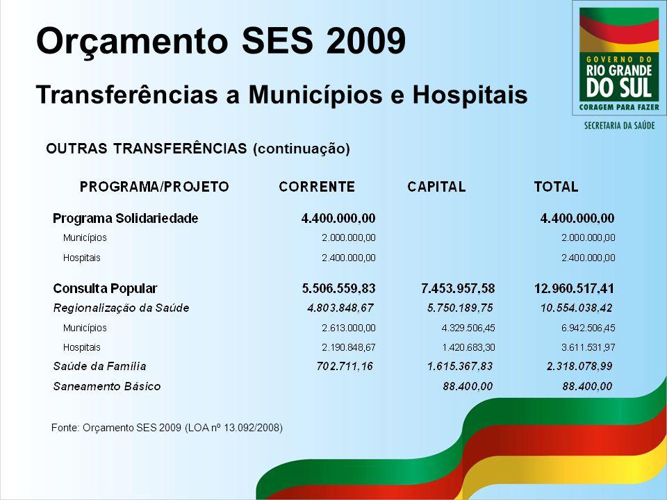 Fonte: Orçamento SES 2009 (LOA nº 13.092/2008) OUTRAS TRANSFERÊNCIAS (continuação) Orçamento SES 2009 Transferências a Municípios e Hospitais