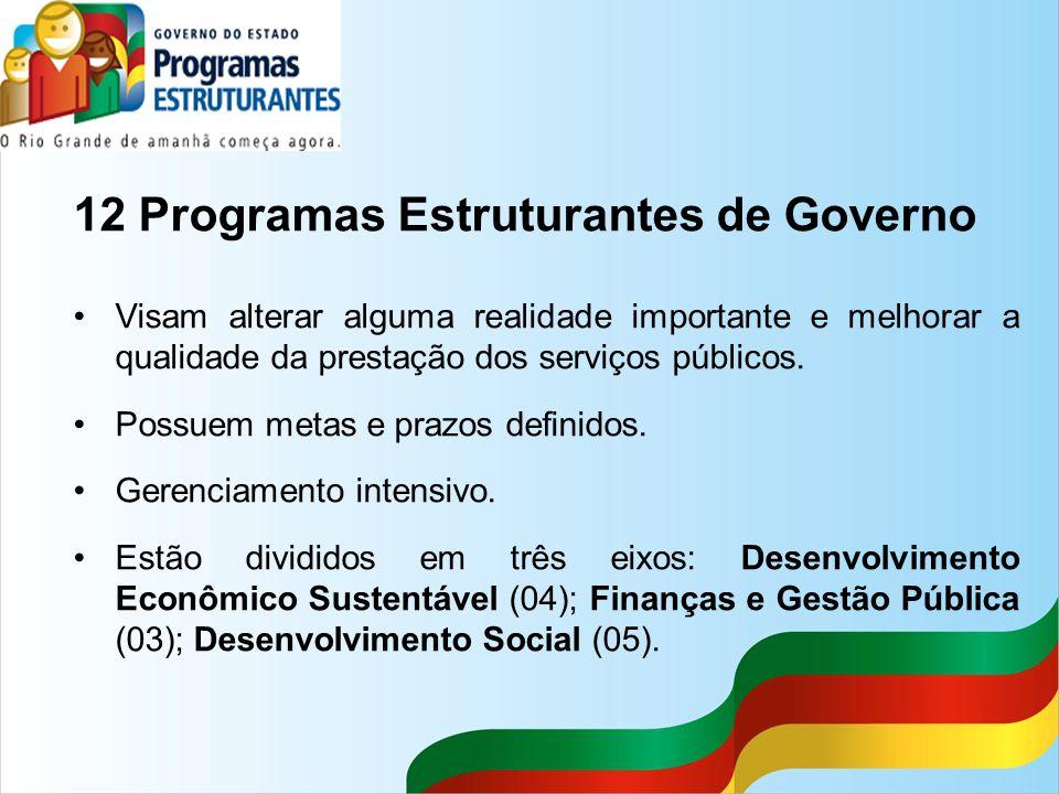 12 Programas Estruturantes de Governo Visam alterar alguma realidade importante e melhorar a qualidade da prestação dos serviços públicos. Possuem met