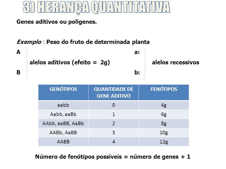 AaBb x AaBb Proporção fenotípica da descendência: 1 (4g) : 4 (6g) : 6 (8g) : 4 (10g) : 1 (12g) Quantidade de indivíduos Fenótipos