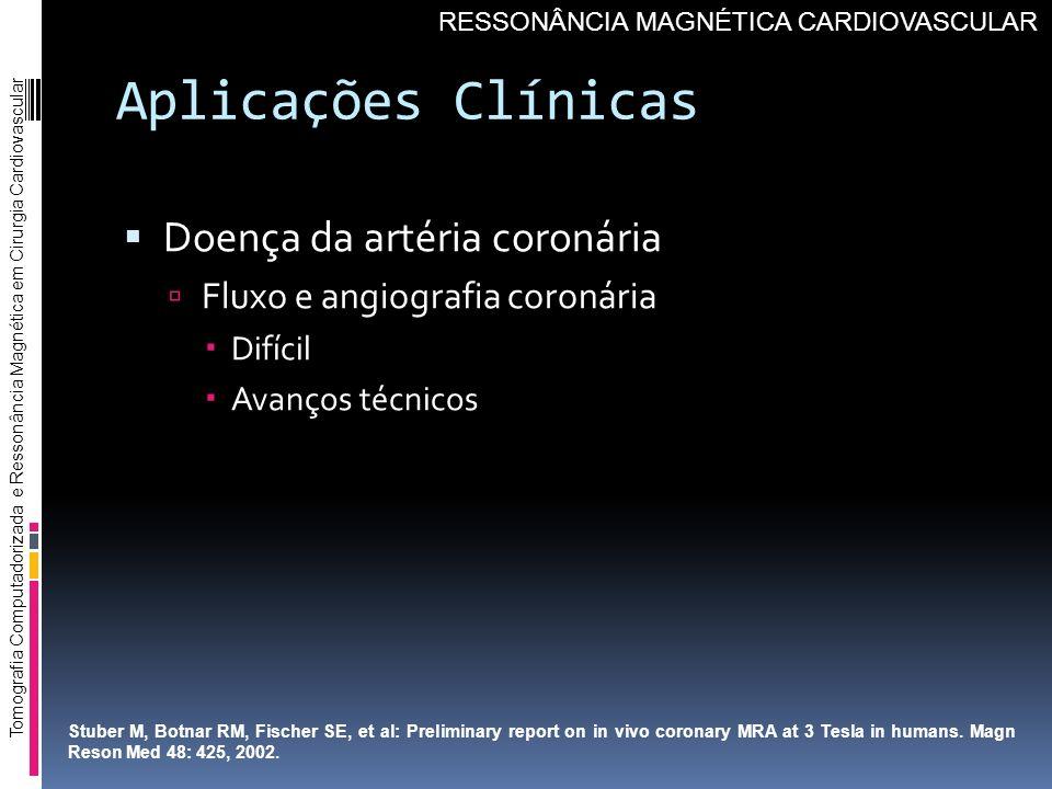 Aplicações Clínicas Doença da artéria coronária Fluxo e angiografia coronária Difícil Avanços técnicos Tomografia Computadorizada e Ressonância Magnét