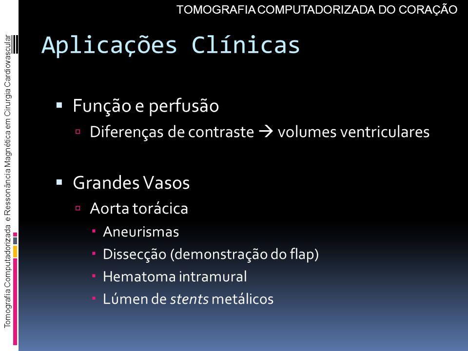 Aplicações Clínicas Função e perfusão Diferenças de contraste volumes ventriculares Grandes Vasos Aorta torácica Aneurismas Dissecção (demonstração do