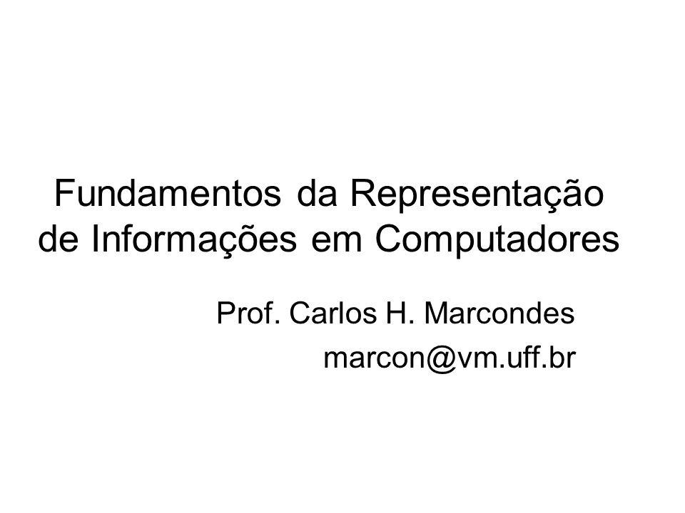 Fundamentos da Representação de Informações em Computadores Prof. Carlos H. Marcondes marcon@vm.uff.br