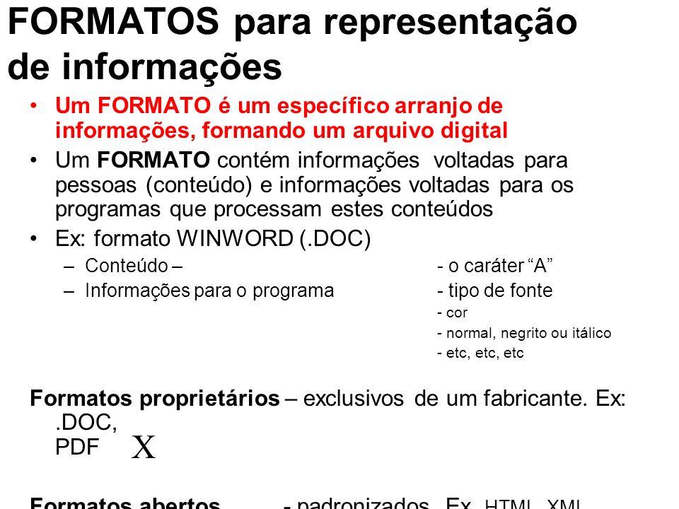 FORMATOS para representação de informações Um FORMATO é um específico arranjo de informações, formando um arquivo digital Um FORMATO contém informaçõe