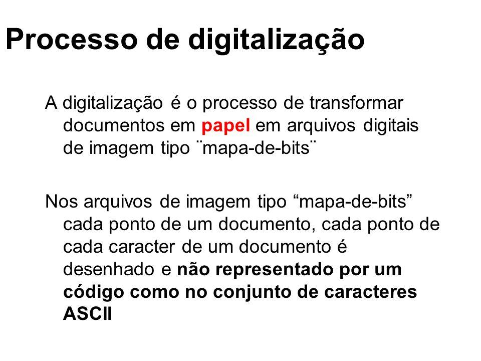 Processo de digitalização A digitalização é o processo de transformar documentos em papel em arquivos digitais de imagem tipo ¨mapa-de-bits¨ Nos arqui