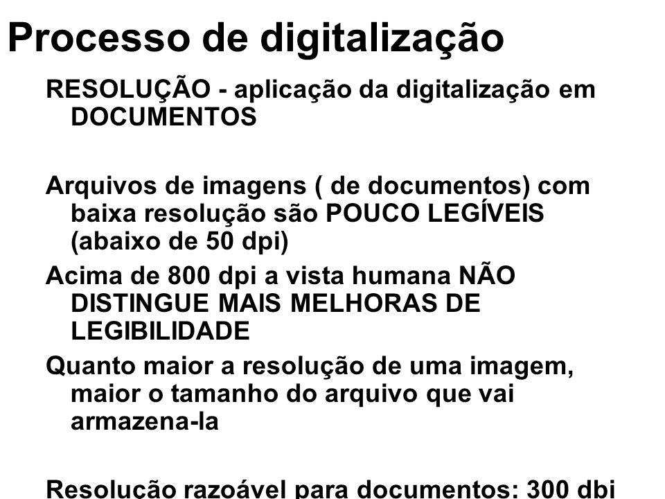Processo de digitalização RESOLUÇÃO - aplicação da digitalização em DOCUMENTOS Arquivos de imagens ( de documentos) com baixa resolução são POUCO LEGÍ