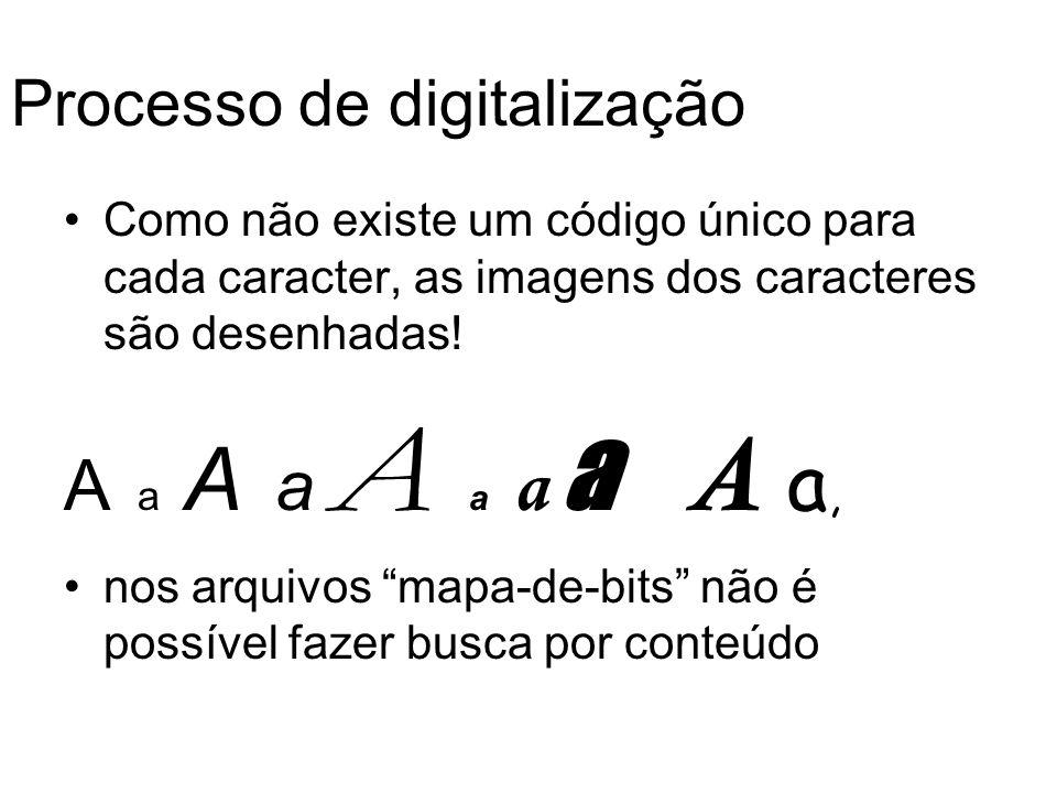 Processo de digitalização Como não existe um código único para cada caracter, as imagens dos caracteres são desenhadas! A a A a A a a a A a, nos arqui