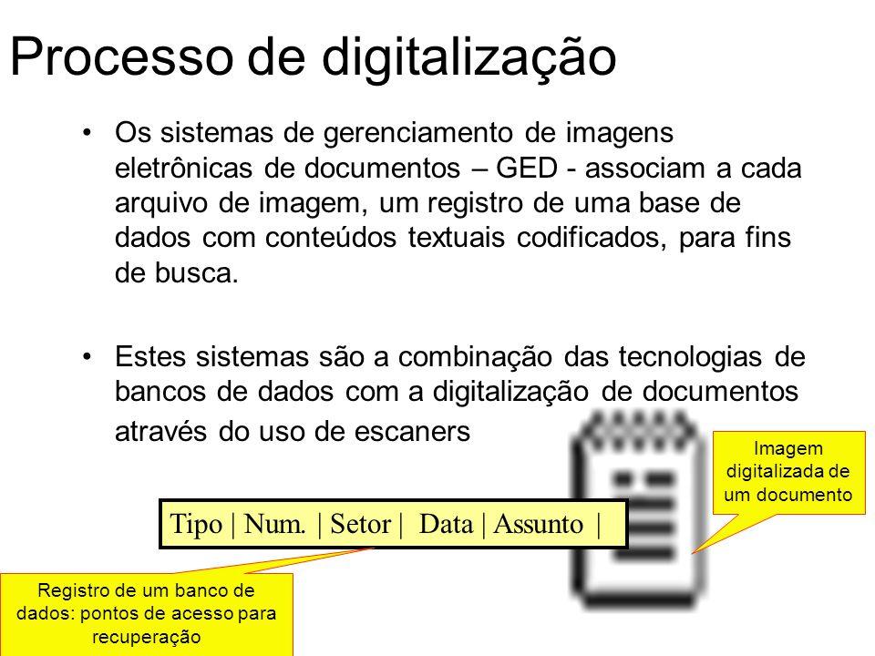 Processo de digitalização Os sistemas de gerenciamento de imagens eletrônicas de documentos – GED - associam a cada arquivo de imagem, um registro de