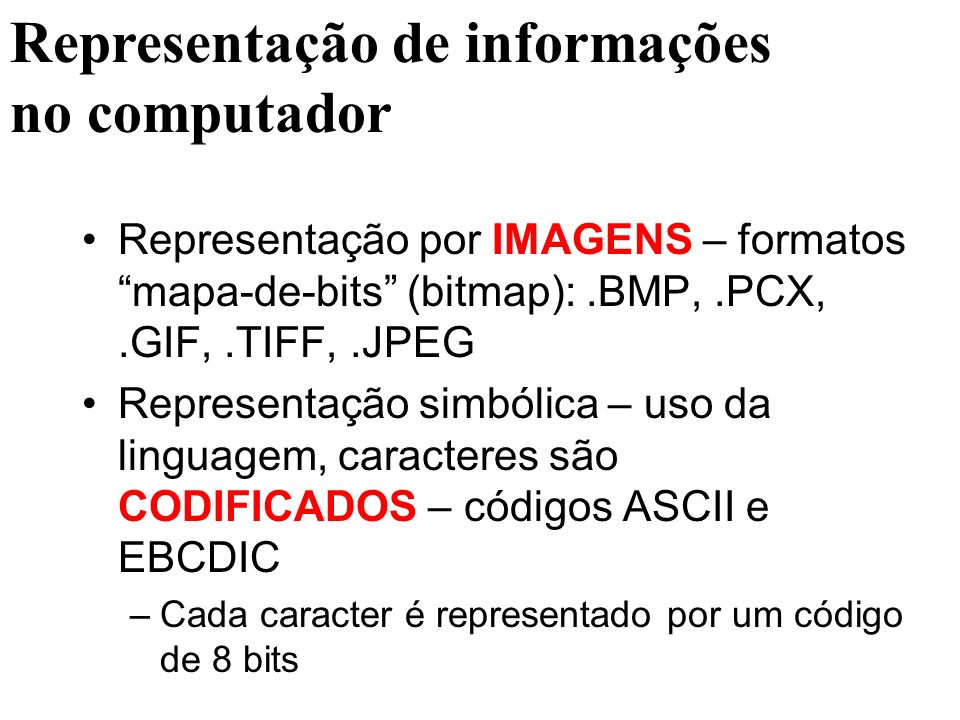 Representação por IMAGENS – formatos mapa-de-bits (bitmap):.BMP,.PCX,.GIF,.TIFF,.JPEG Representação simbólica – uso da linguagem, caracteres são CODIF