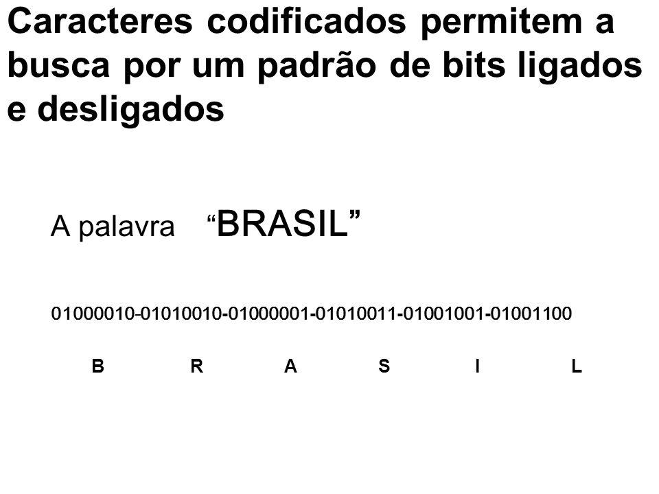 Caracteres codificados permitem a busca por um padrão de bits ligados e desligados A palavra BRASIL 01000010-01010010 - 01000001 - 01010011 - 01001001