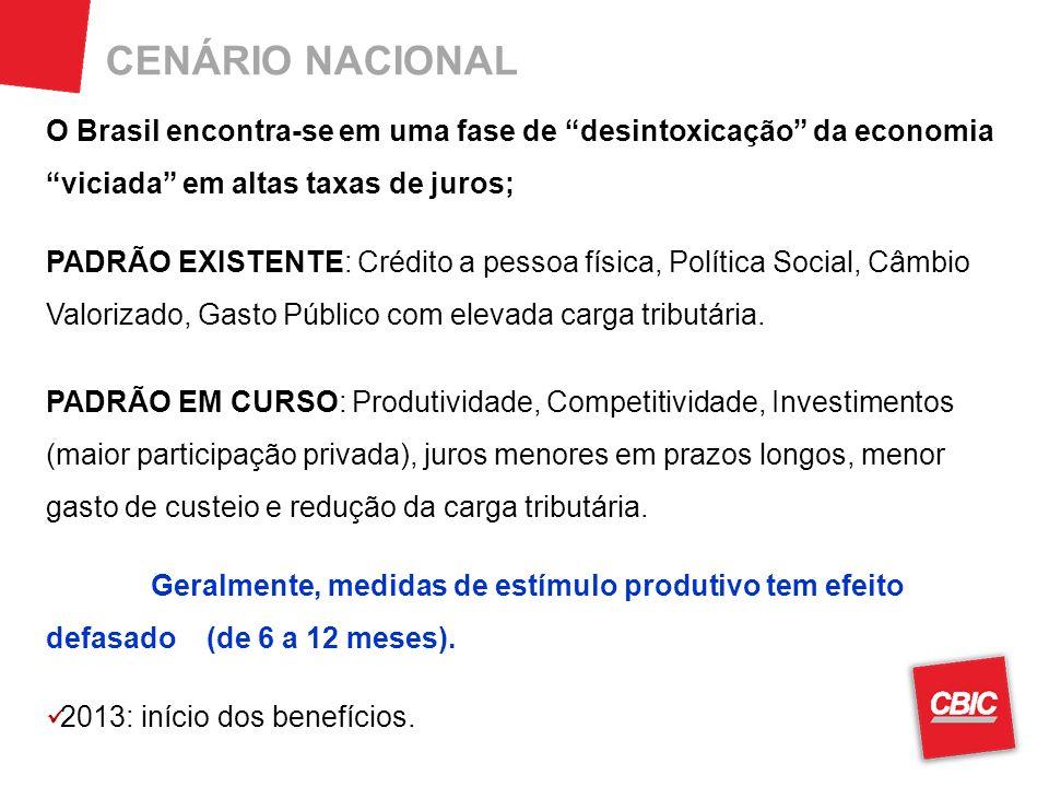CENÁRIO NACIONAL O Brasil encontra-se em uma fase de desintoxicação da economia viciada em altas taxas de juros; PADRÃO EXISTENTE: Crédito a pessoa física, Política Social, Câmbio Valorizado, Gasto Público com elevada carga tributária.