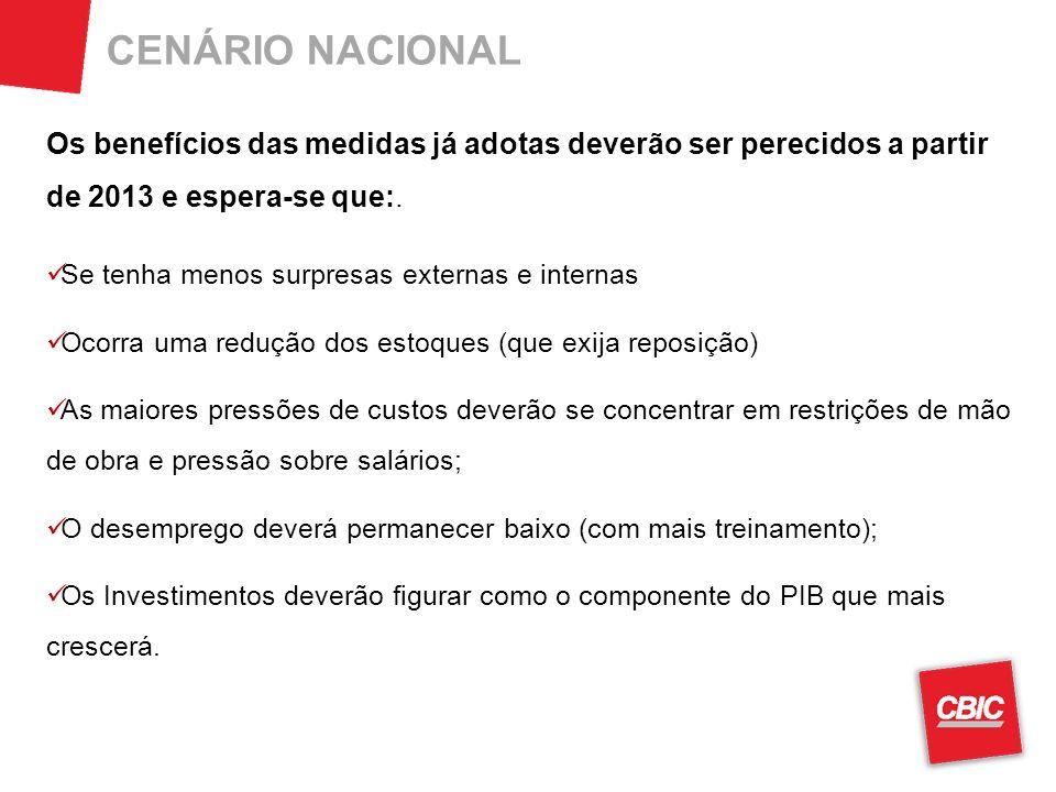 CENÁRIO NACIONAL Os benefícios das medidas já adotas deverão ser perecidos a partir de 2013 e espera-se que:.