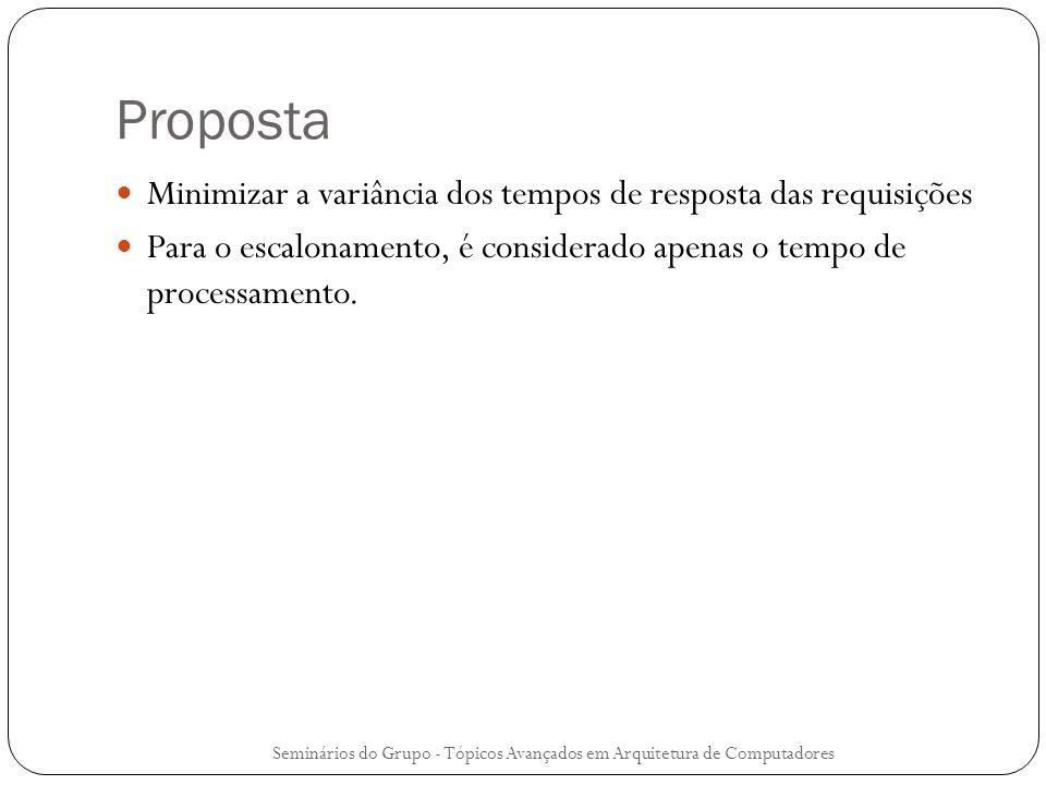 Proposta Minimizar a variância dos tempos de resposta das requisições Para o escalonamento, é considerado apenas o tempo de processamento. Seminários