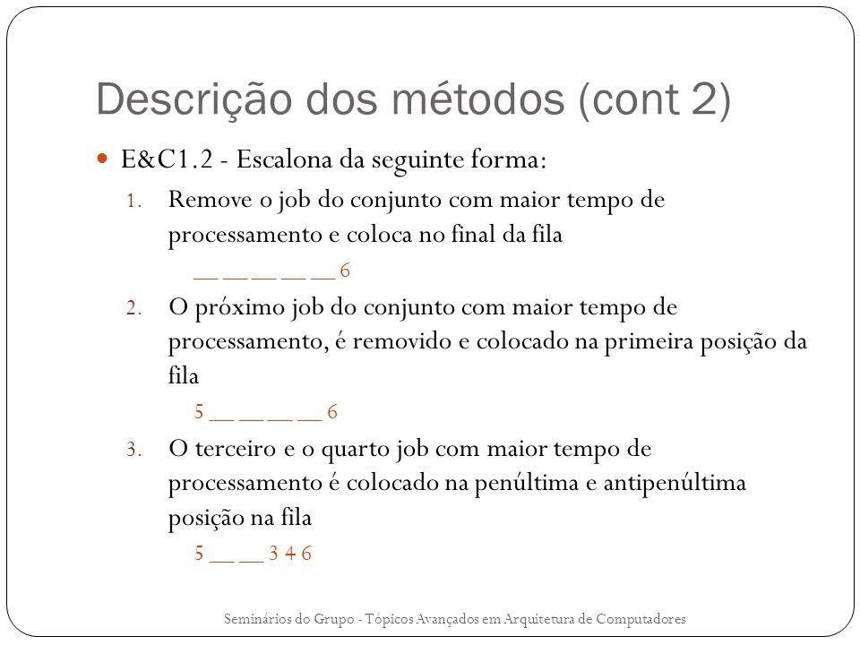 Descrição dos métodos (cont 2) E&C1.2 - Escalona da seguinte forma: 1. Remove o job do conjunto com maior tempo de processamento e coloca no final da