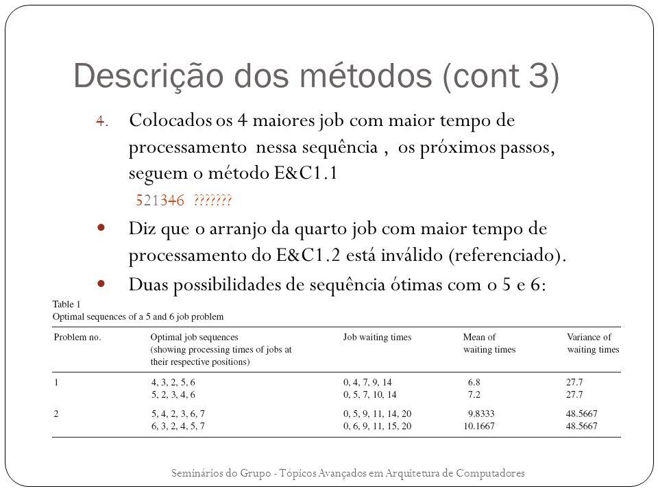 Descrição dos métodos (cont 3) 4. Colocados os 4 maiores job com maior tempo de processamento nessa sequência, os próximos passos, seguem o método E&C