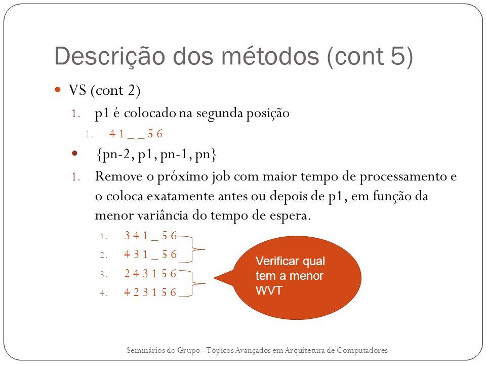 Descrição dos métodos (cont 5) VS (cont 2) 1. p1 é colocado na segunda posição 1. 4 1 _ _ 5 6 {pn-2, p1, pn-1, pn} 1. Remove o próximo job com maior t