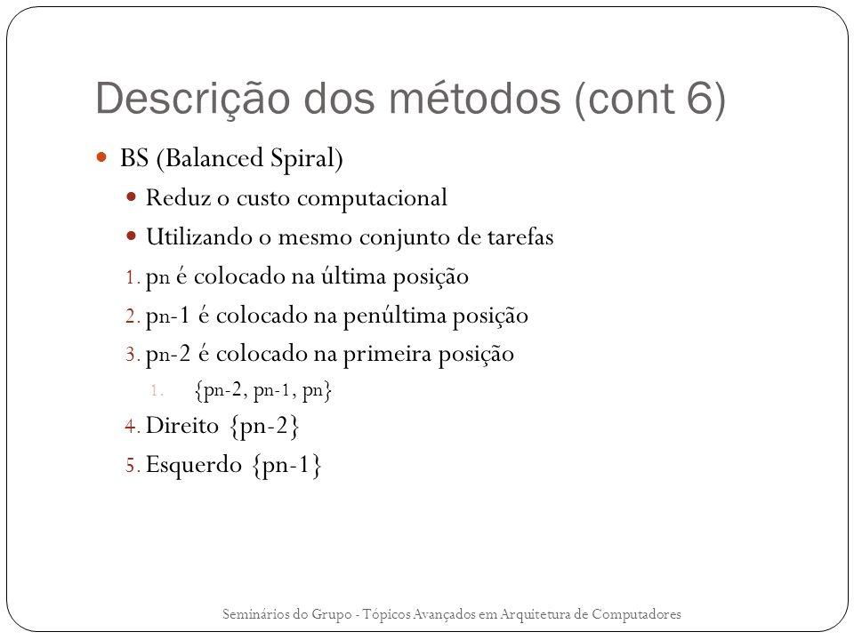 Descrição dos métodos (cont 6) BS (Balanced Spiral) Reduz o custo computacional Utilizando o mesmo conjunto de tarefas 1. p n é colocado na última pos