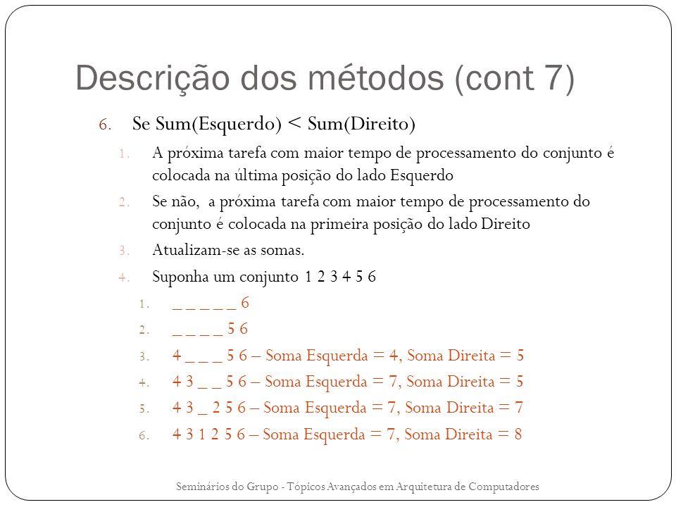 Descrição dos métodos (cont 7) 6. Se Sum(Esquerdo) < Sum(Direito) 1. A próxima tarefa com maior tempo de processamento do conjunto é colocada na últim