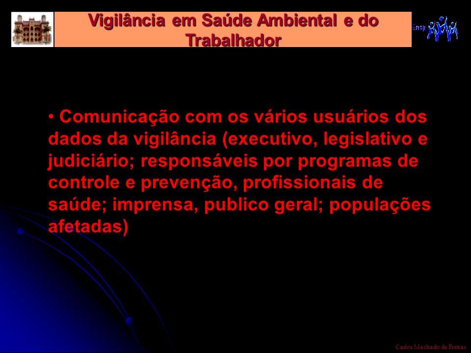 Vigilância em Saúde Ambiental e do Trabalhador Carlos Machado de Freitas Comunicação com os vários usuários dos dados da vigilância (executivo, legisl