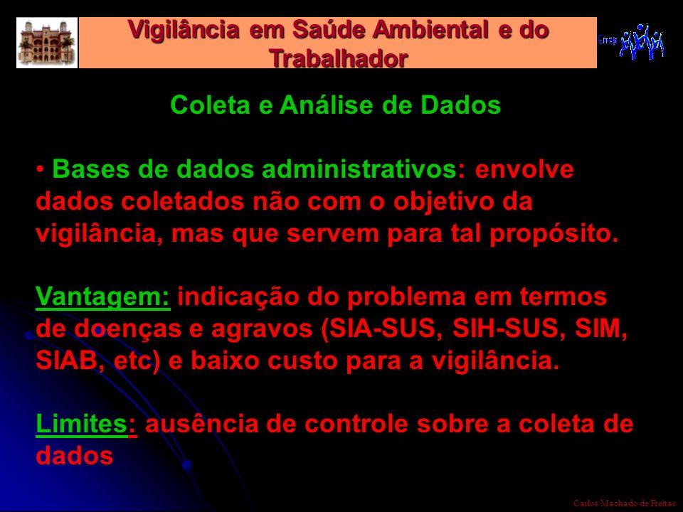 Vigilância em Saúde Ambiental e do Trabalhador Carlos Machado de Freitas Coleta e Análise de Dados Bases de dados administrativos: envolve dados colet