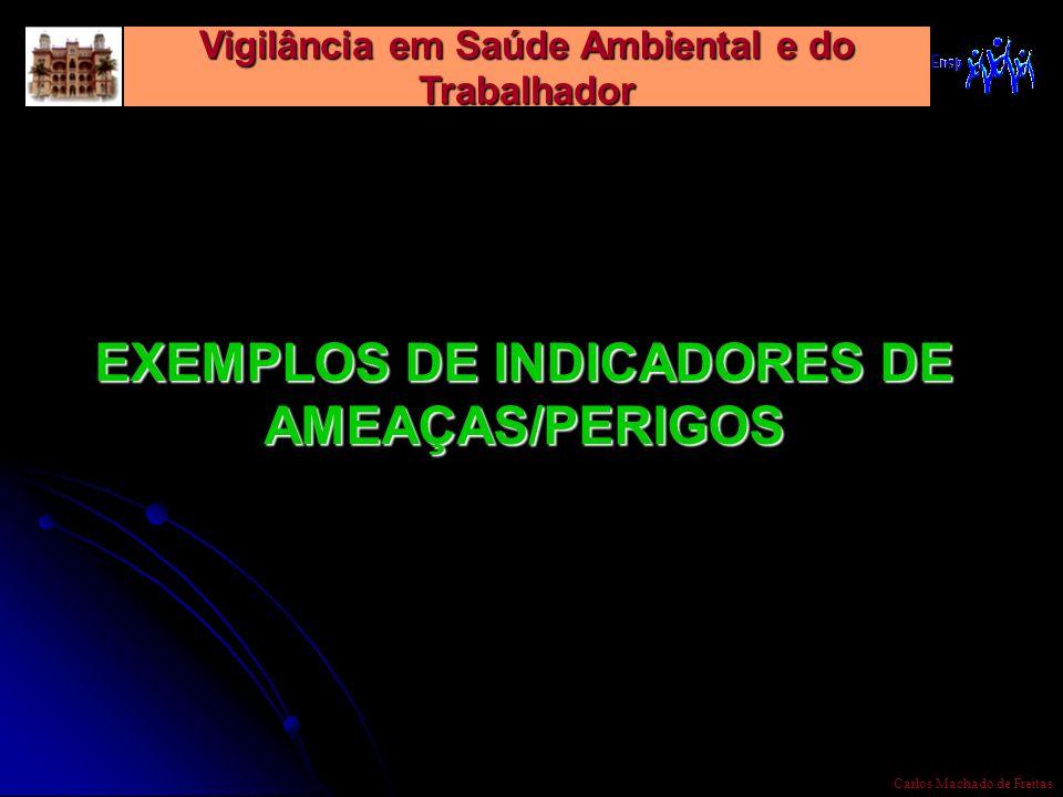 Vigilância em Saúde Ambiental e do Trabalhador Carlos Machado de Freitas EXEMPLOS DE INDICADORES DE AMEAÇAS/PERIGOS