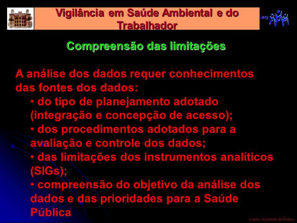 Vigilância em Saúde Ambiental e do Trabalhador Carlos Machado de Freitas Compreensão das limitações A análise dos dados requer conhecimentos das fonte