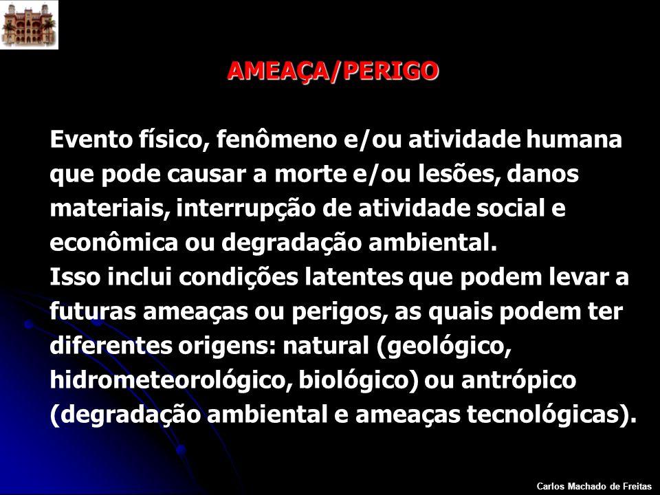 Carlos Machado de Freitas AMEAÇA/PERIGO Evento físico, fenômeno e/ou atividade humana que pode causar a morte e/ou lesões, danos materiais, interrupçã