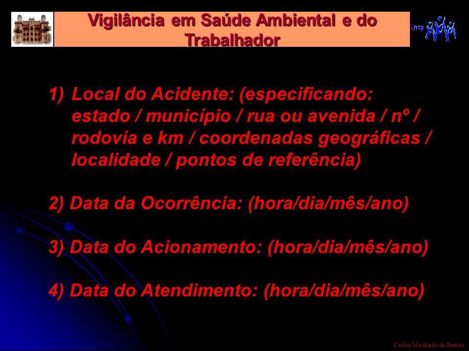 Vigilância em Saúde Ambiental e do Trabalhador Carlos Machado de Freitas 1)Local do Acidente: (especificando: estado / município / rua ou avenida / nº