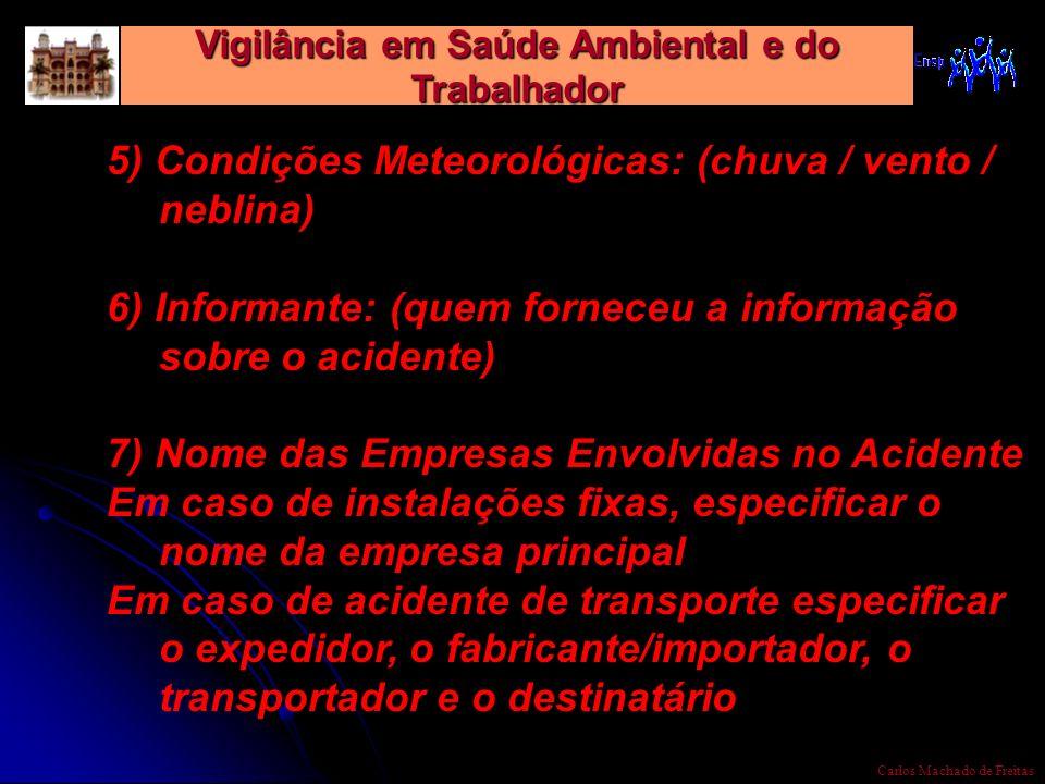 Vigilância em Saúde Ambiental e do Trabalhador Carlos Machado de Freitas 5) Condições Meteorológicas: (chuva / vento / neblina) 6) Informante: (quem f