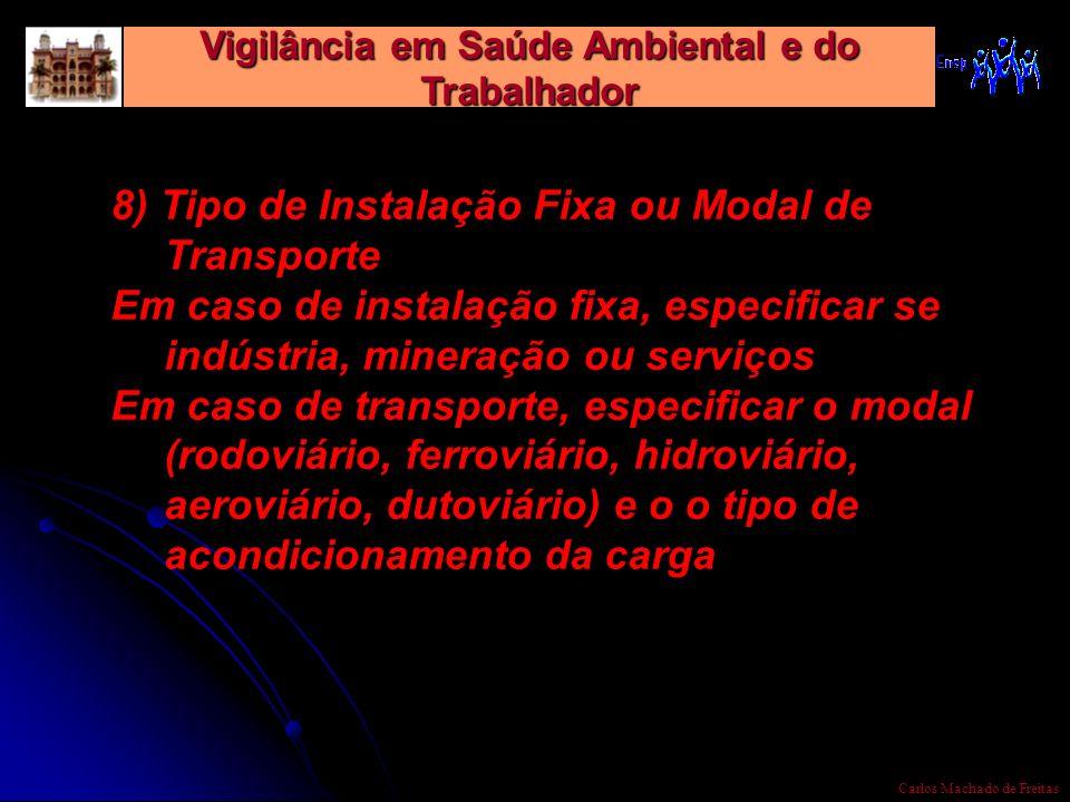 Vigilância em Saúde Ambiental e do Trabalhador Carlos Machado de Freitas 8) Tipo de Instalação Fixa ou Modal de Transporte Em caso de instalação fixa,