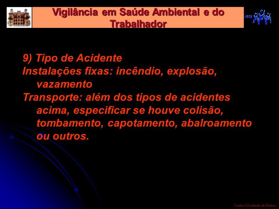 Vigilância em Saúde Ambiental e do Trabalhador Carlos Machado de Freitas 9) Tipo de Acidente Instalações fixas: incêndio, explosão, vazamento Transpor