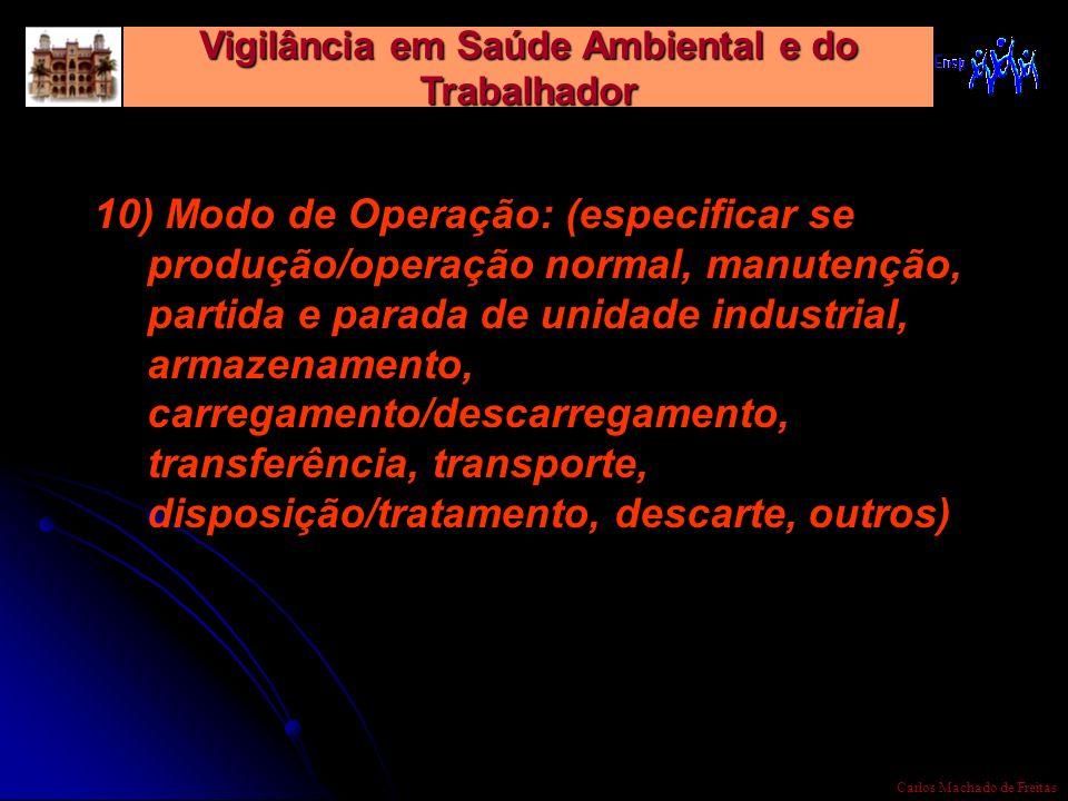 Vigilância em Saúde Ambiental e do Trabalhador Carlos Machado de Freitas 10) Modo de Operação: (especificar se produção/operação normal, manutenção, p