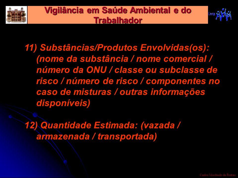 Vigilância em Saúde Ambiental e do Trabalhador Carlos Machado de Freitas 11) Substâncias/Produtos Envolvidas(os): (nome da substância / nome comercial