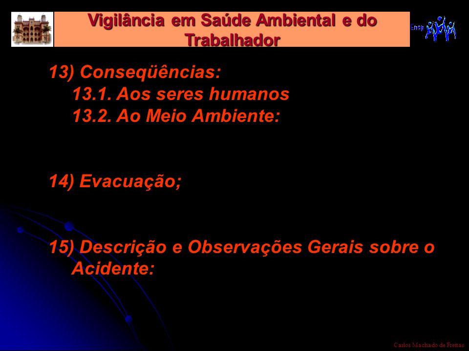 Vigilância em Saúde Ambiental e do Trabalhador Carlos Machado de Freitas 13) Conseqüências: 13.1. Aos seres humanos 13.2. Ao Meio Ambiente: 14) Evacua