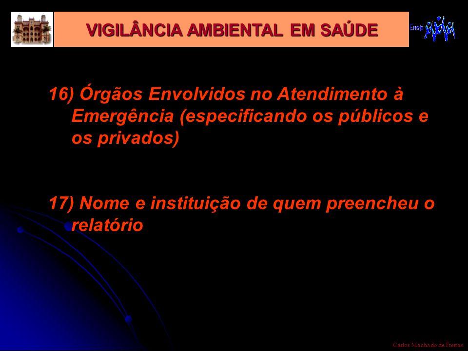 VIGILÂNCIA AMBIENTAL EM SAÚDE Carlos Machado de Freitas 16) Órgãos Envolvidos no Atendimento à Emergência (especificando os públicos e os privados) 17
