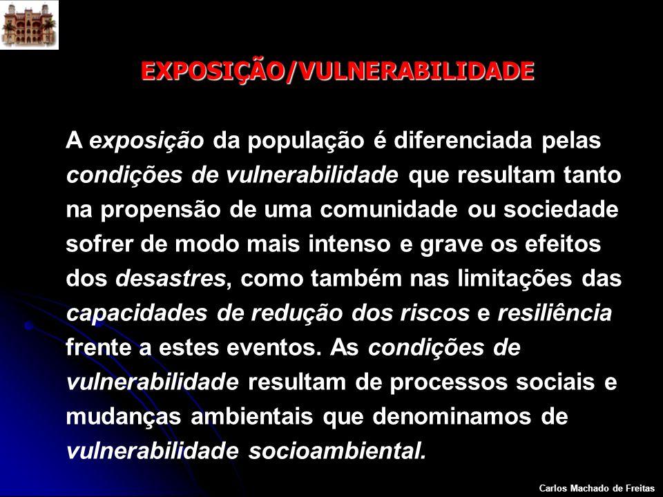 Carlos Machado de Freitas EXPOSIÇÃO/VULNERABILIDADE A exposição da população é diferenciada pelas condições de vulnerabilidade que resultam tanto na p