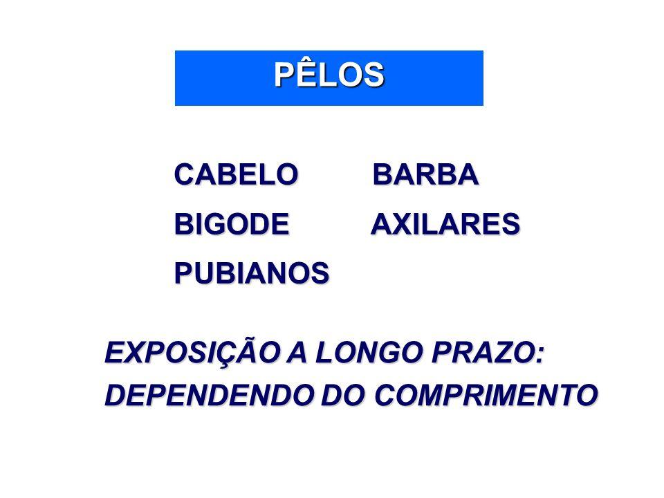 PÊLOS CABELO BARBA CABELO BARBA BIGODE AXILARES BIGODE AXILARES PUBIANOS PUBIANOS EXPOSIÇÃO A LONGO PRAZO: DEPENDENDO DO COMPRIMENTO