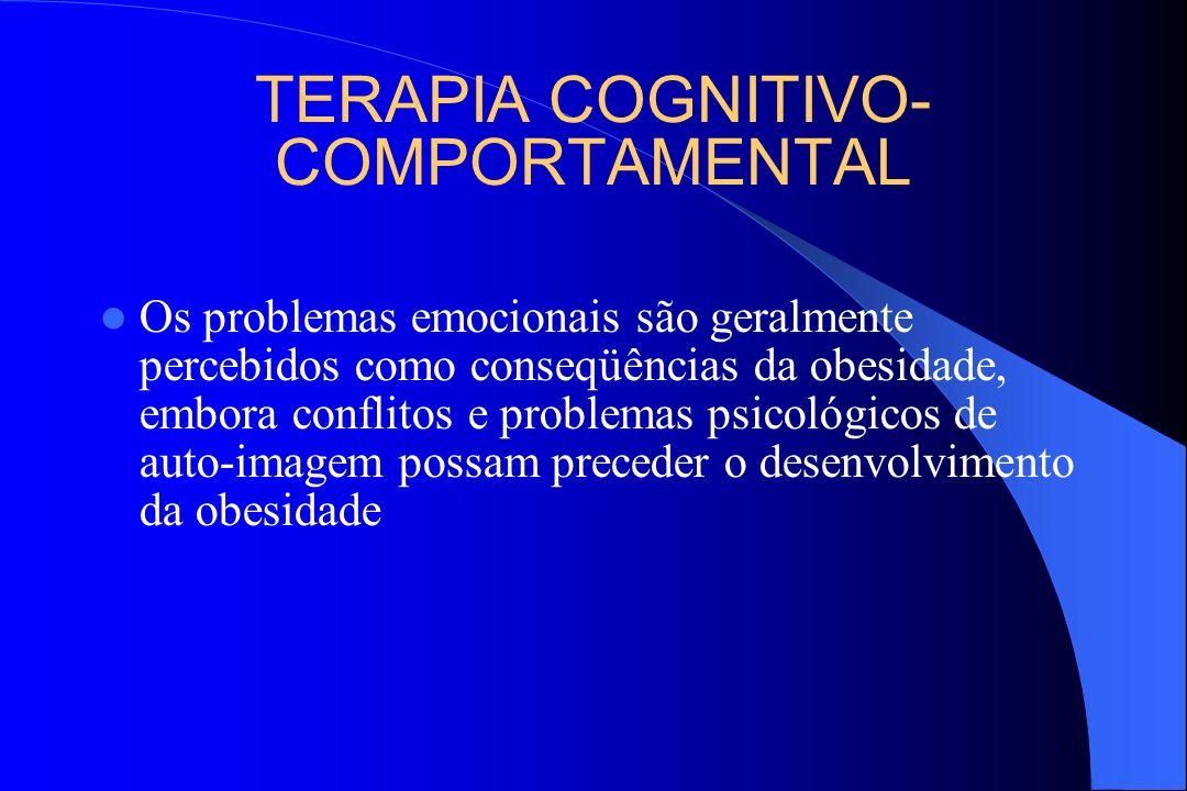 TERAPIA COGNITIVO- COMPORTAMENTAL Os problemas emocionais são geralmente percebidos como conseqüências da obesidade, embora conflitos e problemas psic