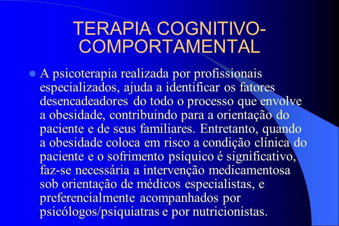 TERAPIA COGNITIVO- COMPORTAMENTAL A psicoterapia realizada por profissionais especializados, ajuda a identificar os fatores desencadeadores do todo o