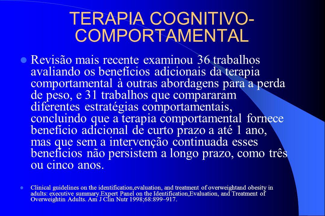 TERAPIA COGNITIVO- COMPORTAMENTAL Revisão mais recente examinou 36 trabalhos avaliando os benefícios adicionais da terapia comportamental à outras abo