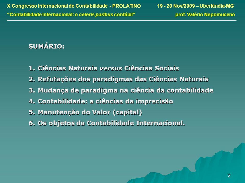 3 X Congresso Internacional de Contabilidade - PROLATINO 19 - 20 Nov/2009 – Uberlândia-MG Contabilidade Internacional: o ceteris paribus contábil prof.