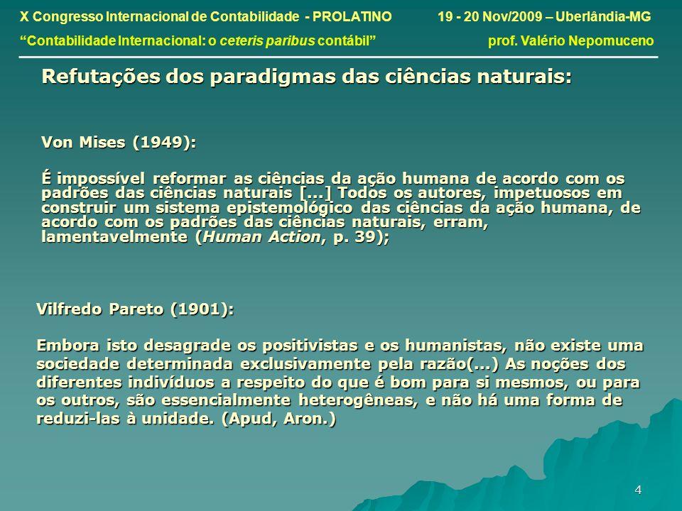 4 Refutações dos paradigmas das ciências naturais: Von Mises (1949): É impossível reformar as ciências da ação humana de acordo com os padrões das ciê