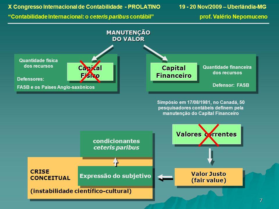 7 CRISE CONCEITUAL (instabilidade científico-cultural) CRISE CONCEITUAL (instabilidade científico-cultural) X Congresso Internacional de Contabilidade