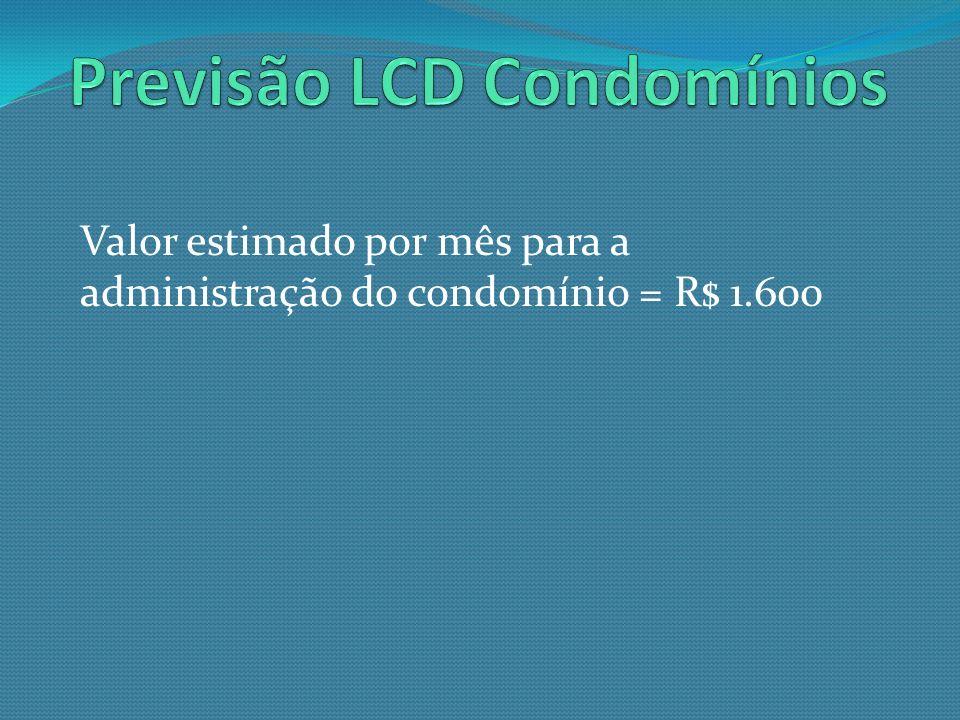 Valor estimado por mês para a administração do condomínio = R$ 1.600