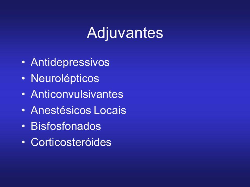 Adjuvantes Antidepressivos Neurolépticos Anticonvulsivantes Anestésicos Locais Bisfosfonados Corticosteróides