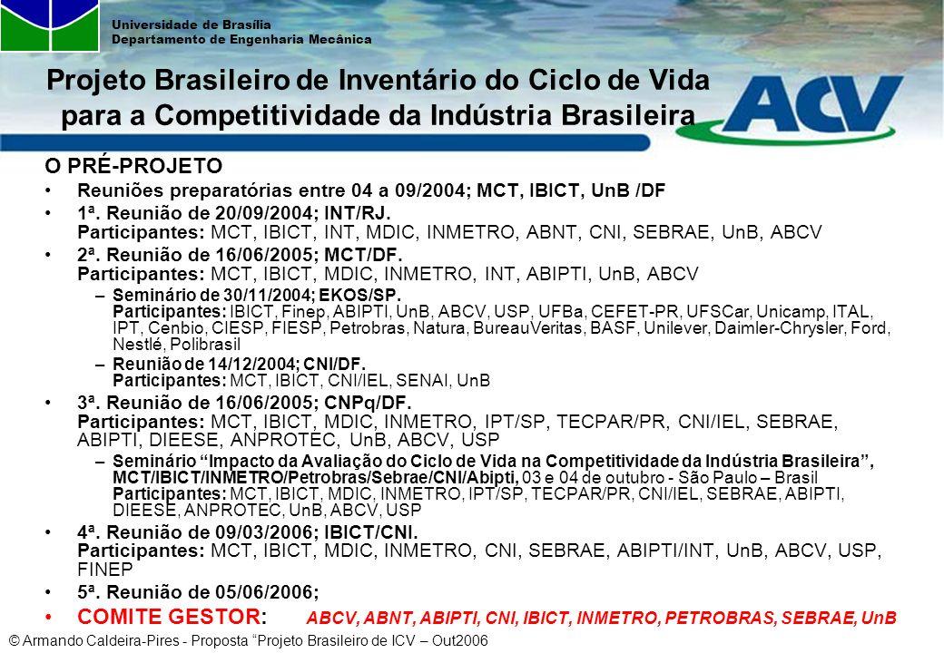 © Armando Caldeira-Pires - Proposta Projeto Brasileiro de ICV – Out2006 Universidade de Brasília Departamento de Engenharia Mecânica O PRÉ-PROJETO Reu