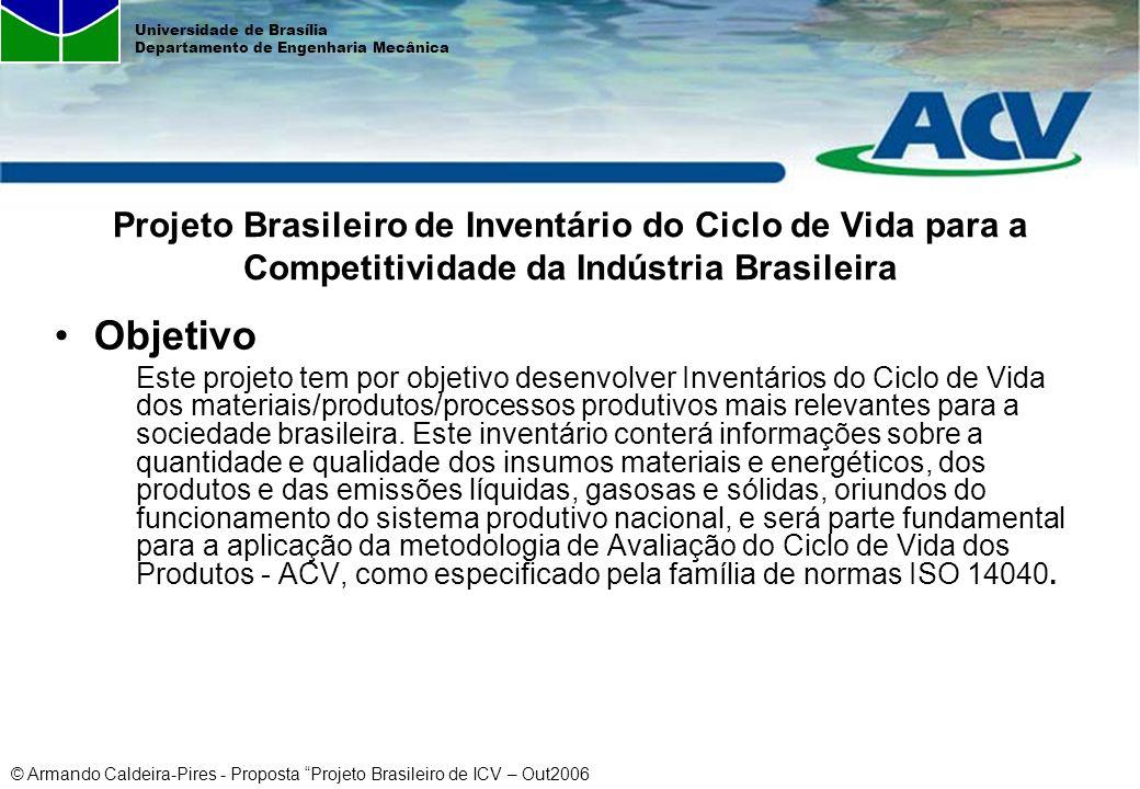 © Armando Caldeira-Pires - Proposta Projeto Brasileiro de ICV – Out2006 Universidade de Brasília Departamento de Engenharia Mecânica Objetivo Este pro