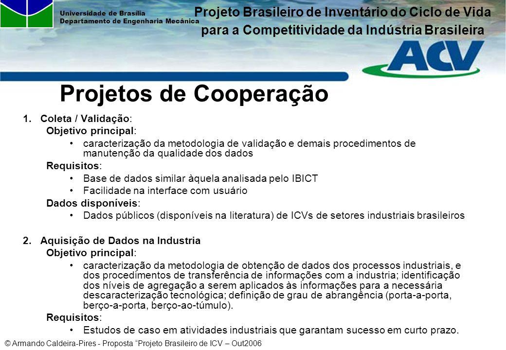 © Armando Caldeira-Pires - Proposta Projeto Brasileiro de ICV – Out2006 Universidade de Brasília Departamento de Engenharia Mecânica Projetos de Coope