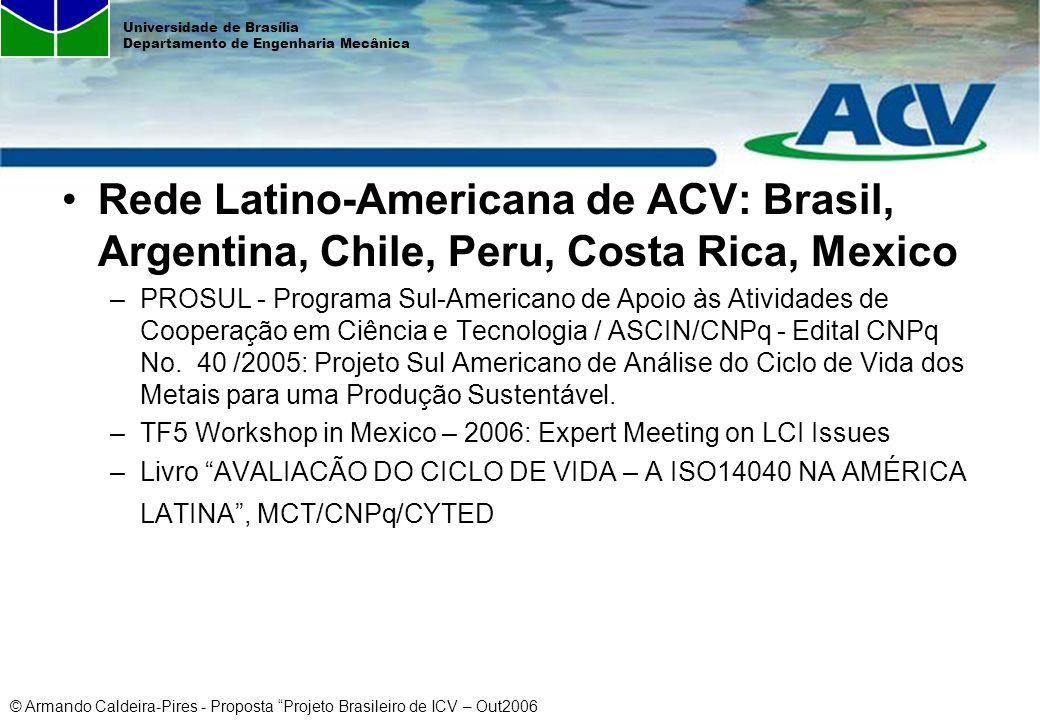 © Armando Caldeira-Pires - Proposta Projeto Brasileiro de ICV – Out2006 Universidade de Brasília Departamento de Engenharia Mecânica Rede Latino-Ameri