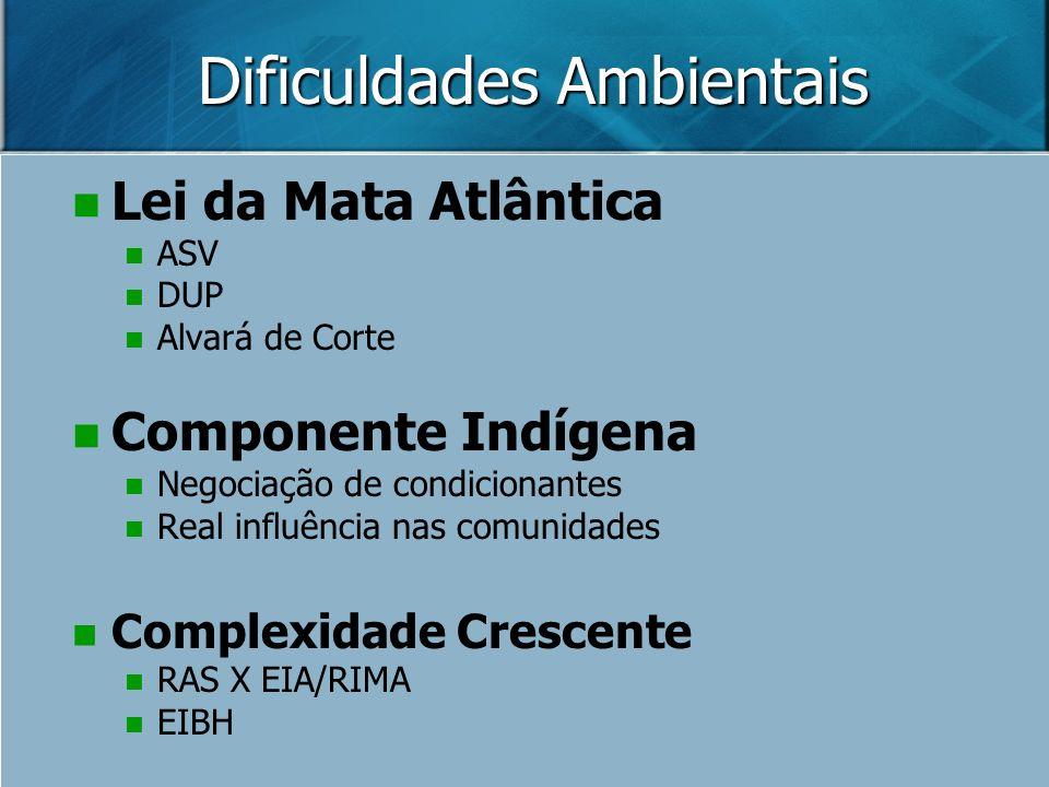 Dificuldades Ambientais Lei da Mata Atlântica ASV DUP Alvará de Corte Componente Indígena Negociação de condicionantes Real influência nas comunidades