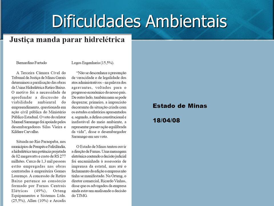 Dificuldades Ambientais Estado de Minas 18/04/08